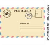 vintage a blank post card white ... | Shutterstock .eps vector #587106029