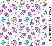 wedding cartoon characters and... | Shutterstock .eps vector #587106359
