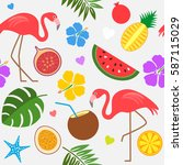 tropical trendy seamless... | Shutterstock .eps vector #587115029