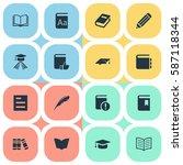 set of 16 simple education... | Shutterstock . vector #587118344