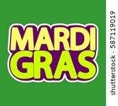 mardi gras  isolated sticker ... | Shutterstock .eps vector #587119019