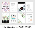 memphis geometric background... | Shutterstock .eps vector #587123315
