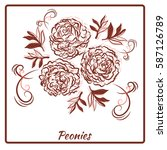 a beautiful bouquet of peonies... | Shutterstock .eps vector #587126789
