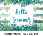 watercolor invite with tropical ... | Shutterstock . vector #587130155