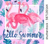 Watercolor Tropic Card With...
