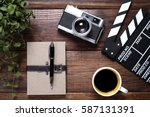 notebook with coffee and old... | Shutterstock . vector #587131391