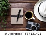 notebook with coffee and old... | Shutterstock . vector #587131421