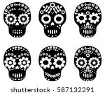 black and white floral sugar... | Shutterstock .eps vector #587132291