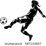 soccer left kick shadow | Shutterstock .eps vector #587132837