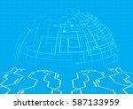 abstract blue modern digital... | Shutterstock .eps vector #587133959