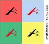 scissors cutting ribbon vector  ... | Shutterstock .eps vector #587136821