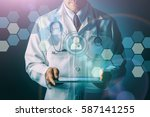 doctor with stethoscope and...   Shutterstock . vector #587141255