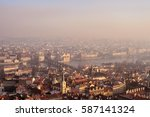 aerial view to prague buildings ... | Shutterstock . vector #587141324