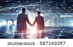 connection and networking... | Shutterstock . vector #587143397