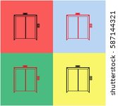 elevator vector  icon. | Shutterstock .eps vector #587144321