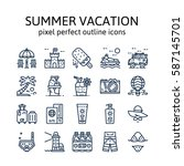 summer vacation   outline icons ...