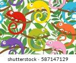 colored set of funny chameleon... | Shutterstock .eps vector #587147129