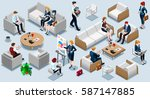 isometric people isolated... | Shutterstock .eps vector #587147885