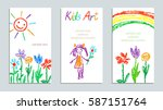 set of wax crayon like kid s... | Shutterstock .eps vector #587151764