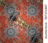 vector vintage baroque floral... | Shutterstock .eps vector #587151887