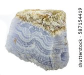 Small photo of Blue Lace Agate rough mineral specimen isolated on a white backg