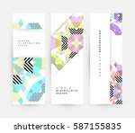 memphis geometric background... | Shutterstock .eps vector #587155835