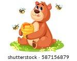 cute bear cartoon holding a... | Shutterstock .eps vector #587156879