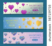 valentines day sale flyers... | Shutterstock .eps vector #587159735