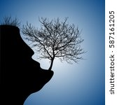 realistic silhouette of a tree... | Shutterstock .eps vector #587161205