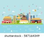china famous landmarks... | Shutterstock .eps vector #587164349
