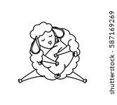 sheep sleeping cartoon icon... | Shutterstock .eps vector #587169269