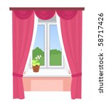 Isolated Window With Curtains