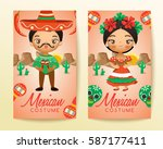 mexican traditional costumes  ... | Shutterstock .eps vector #587177411