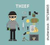 thief tool set crime flat... | Shutterstock . vector #587188835