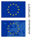 vector europe flag and map... | Shutterstock .eps vector #587189375