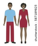 isolated african couple on... | Shutterstock .eps vector #587189825