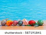 easter in pool  wellness and... | Shutterstock . vector #587191841