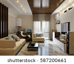 modern living room interior...   Shutterstock . vector #587200661