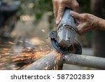 welding steel welding sparks... | Shutterstock . vector #587202839