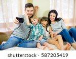 selfie family makes sitting on...   Shutterstock . vector #587205419