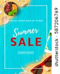 beautiful flyer for summer sale ... | Shutterstock .eps vector #587206769