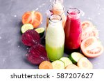vegetables detox smoothie... | Shutterstock . vector #587207627