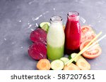 vegetables detox smoothie... | Shutterstock . vector #587207651