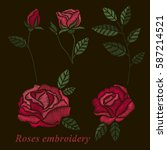 roses embroidery set. red... | Shutterstock .eps vector #587214521