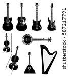 stringed musical instruments... | Shutterstock .eps vector #587217791