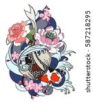 hand drawn koi fish with flower ...   Shutterstock .eps vector #587218295