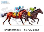 Stock vector four racing horses competing with each other with motion blur to accent speed vector illustration 587221565
