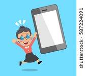 cartoon senior woman and big... | Shutterstock .eps vector #587224091