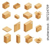 Carton Packaging Box. Isometri...