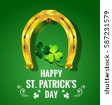 gold horseshoe with shamrock... | Shutterstock .eps vector #587231579